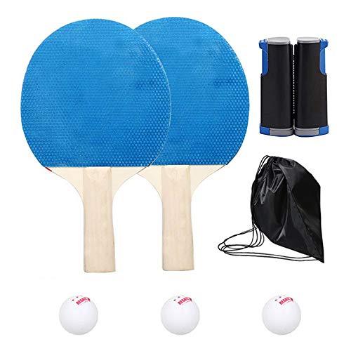 Lixada Professionnel Tennis de Table avec 1 Support Réglable 2 Raquette 3 Balle 1 Sacs Sports Trainning Set Raquette Lame Maille Net Étudiant Simple Équipement Sportif Portable