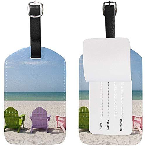 Strandkorb Gepäckanhänger Travel ID Label Leder für Gepäck Koffer 2 Stück