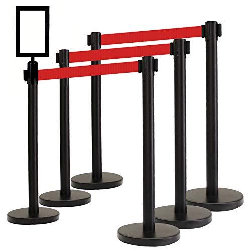 VIP Crowd Control Retractable Belt Queue Safety Stanchion Barrier Set,36