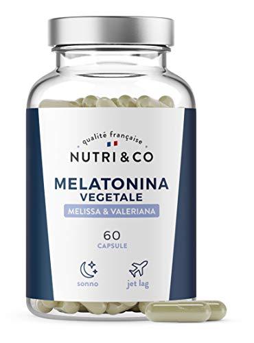Melatonina Vegetale Pura e Forte 1mg + Valeriana + Melissa BIO   Complesso per Sonno e Umore  ...