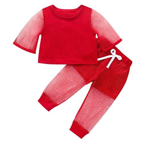 Heetey Conjunto de 2 piezas de camiseta de manga larga y pantalones de lunares para nios y nias, de un solo color, de tul, camiseta y pantalones cortos