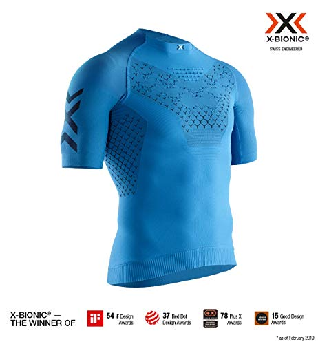 X-Bionic 4.0 Run Chemise Homme, Twyce Blue/Opal Black, FR : L (Taille Fabricant : L)