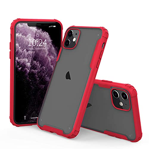 I Strive Compatible with iPhone 11 Case - Matte Translucent - Phone Armor - Shock/Shatterproof - Slim - Hybrid Materials - Wireless Charging - 2019 (Red)