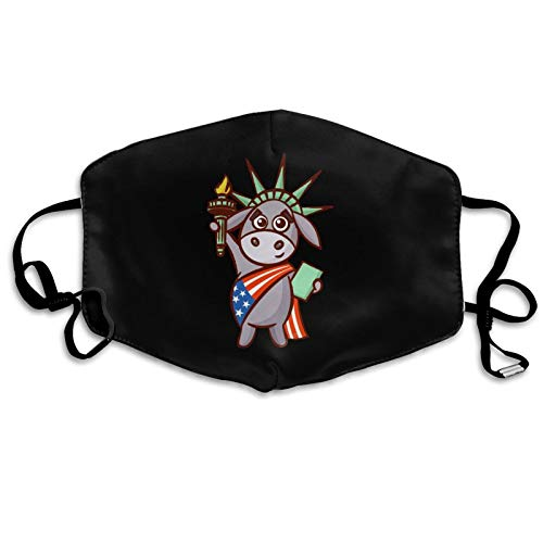 Republican Elephant Statue of Liberty Mouth Cover Face Mask Dustproof Adjustable Reusable Washable for Women Men White