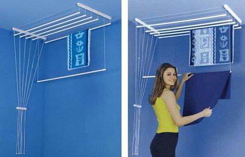 Etend'mieux® - Stendibiancheria da appendere al soffitto, 5 bacchette, 49 x 160 cm, capacità stenditoio: 8 m