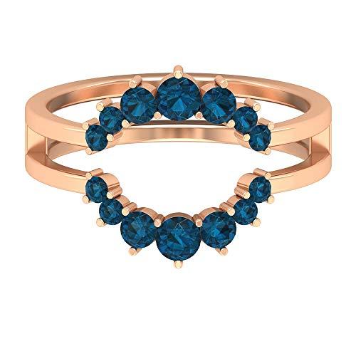 Anillo de topacio azul londinense de 1 ct, anillo de novia, anillo minimalista de doble corona, anillo de compromiso de oro (calidad AAA), 14K Oro rosa, Size:EU 70