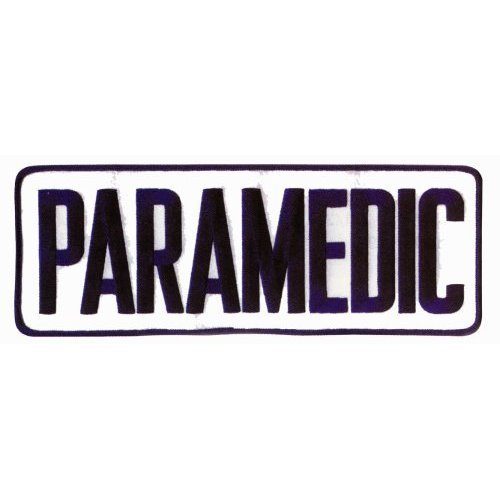 """PARAMEDIC EMT EMS Large Uniform Jacket Back Patch 11"""" x 4"""" with 3"""" High NAVY letters on WHITE Background"""