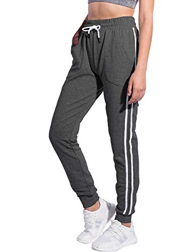 PULI Women's Comfy Sweatpants Running Joggers Pants Cotton Slim Sweat Pants with Pockets Charcoal M