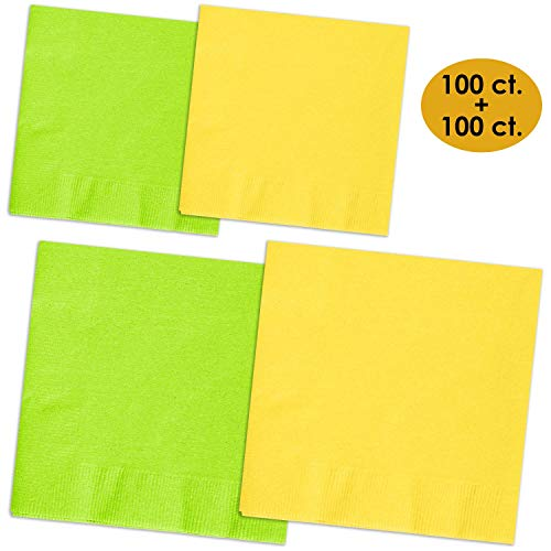 Why Choose 200 Napkins – Lime Green & Lemon Yellow – 100 Beverage Napkins + 100 Luncheon Napkins, 2-Ply, 50 Per Color Per Type