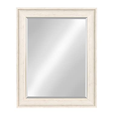 Kate and Laurel McKinley Framed Wall Vanity Beveled Mirror, 22.5x28.5, Distressed White