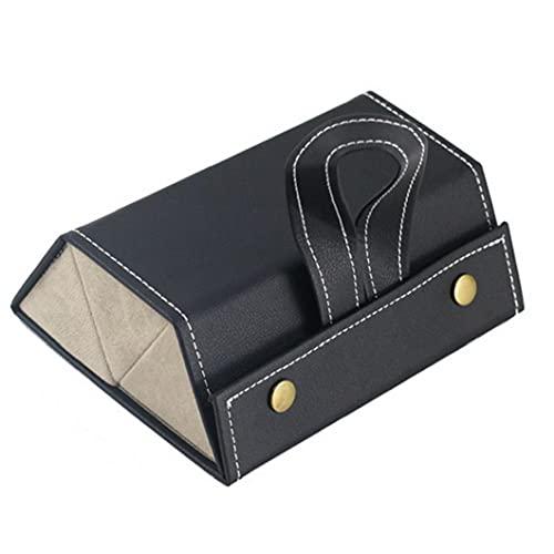 Caja de almacenamiento de gafas, Gafas de sol de cuero Organizador 3 Slot Viaje Gafas Caja de almacenamiento Negro