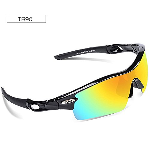 Ewin E12 Polarized Sports Sunglasses, Cycling Glasses with 4 Interchangeable Lenses TR90 Frame Baseball Glasses for Men Women (Black&Black)