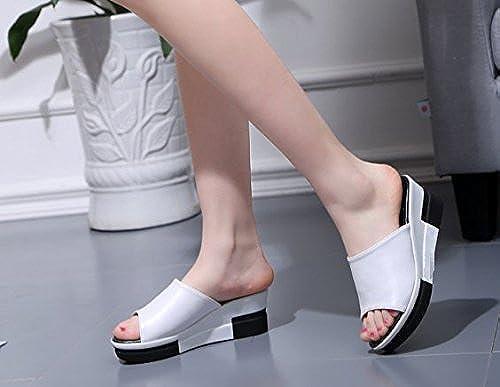 SCLOTHS été Tongs Femme Chaussures Pente à fond épais talon haut étanche extérieur