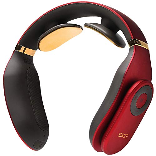 SKG Smart Neck Massager with Heat Wireless Neck Massage Equipment with 24k Gold Conducting Strip -Red