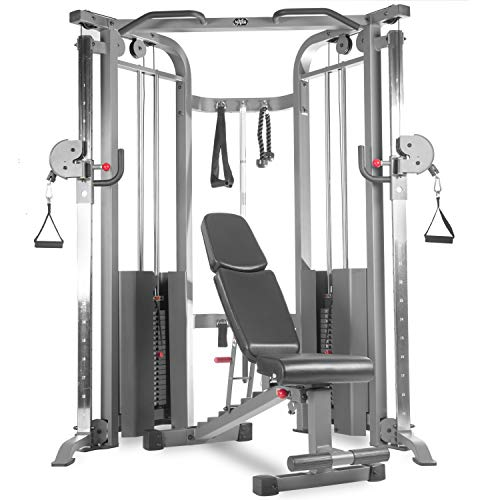 XMark Cable Machine Functional Trainer and Adjustable Weight Bench Dumbbell Bench (7630)
