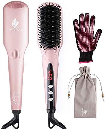 2 en 1cepillo iónico alisador de cabello MCH plancha de pelo con guante gratis resistente al calor y función de bloqueo de temperatura (oro rosa)