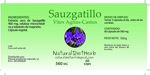 NaturalDietHerb- SAUZGATILLO 560 mg 60 caps/Vitex Agnus-Castus