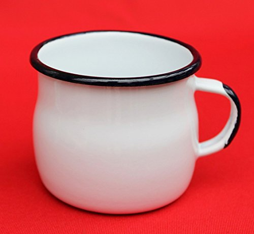 DanDiBo Emaille Tasse 501w/7 Weiß 0,2 L Becher emailliert 7 cm Kaffeebecher Kaffeetasse Teetasse