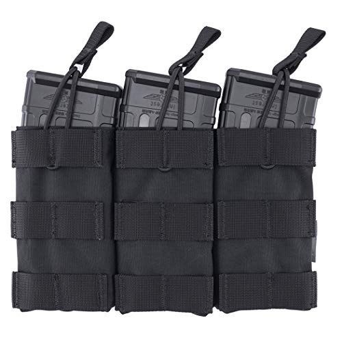 IDOGEAR Open-Top Triple Mag Pouch 5.56/7.62mm MOLLE Magazine Pouch Tactical Mag Holder for M4 M16 AK Series M16 Rifle Magazine 500D Nylon (C:Black)