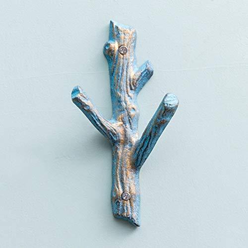 Kapstok Wandkapstok Metal Sjaal 3 Hooks Living Room, 3 kleuren Beschikbare hangers (Color : Blue)