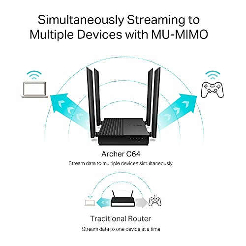 TP-Link Archer C64 AC1200 Dual-Band Gigabit Wi-Fi Router, Wireless Speed up to 1200 Mbps, 4×LAN Ports, 1.2 GHz CPU, Advanced Security with WPA3, MU-MIMO, Beamforming