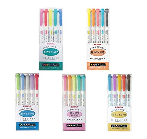 Zebra MildLiner Complete Set 25 Vibrant Colors Great for Text Highlighting, Kids, Office, College, School (WKT7-5C WKT7-5C-NC WKT7-5C-RC WKT7-N-5C WKT7-5C-HC)