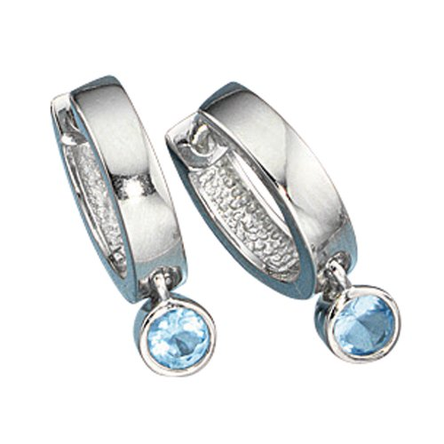Unbespielt Schmuck Ohrschmuck Echt Silber Ohrringe Silber 925 Creolen mit blauen Kristallen rhodiniert für Damen 18 x 3,2 mm Stecker inklusive Schmuckbox