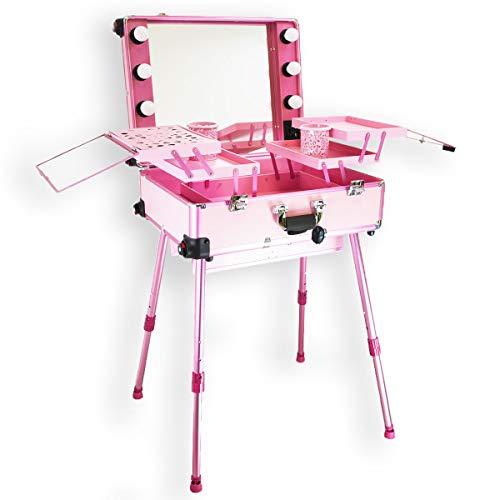 Postazione Trolley Make up Make-up Specchio luci Valigia Beauty Case Nail Art Rosa
