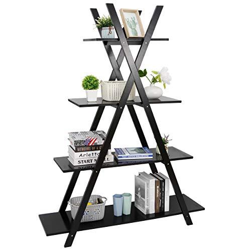 4 Tier Bookshelf Storage Shelves, A Frame Ladder Display Shelves StorageFurniture for Home Office Living Room