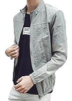 BeiBang(バイバン)メンズ サマージャケット 軽量 UVカット 日焼け対策 夏 アウター 無地 ブルゾン カジュアル夏物 ジャケット 白 黒 グレー 大きいサイズ(12グレー)