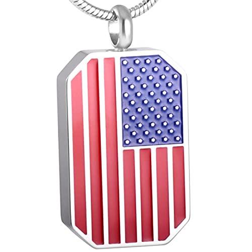 NIUBKLAS Joyería de cremación de acero inoxidable 316L, urna clásica de la bandera americana para el collar colgante de cenizas