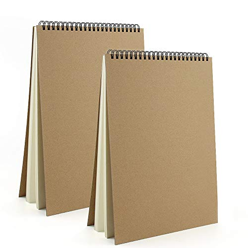 VEESUN Sketchbook A4 Spiralati 2pcs, Album da Disegno Quaderno Schizzi Pagine Bianche Spesso 30 Fogli 160GSM, Copertina Rigida Fogli da Disegno Diario, Blocco da Disegno Matita Penna Acquerello