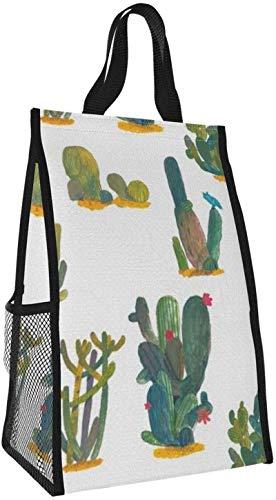 Bolsa de almuerzo plegable, bolso de mano de picnic de gran capacidad portátil con aislamiento de cactus para viajes de oficina de trabajo