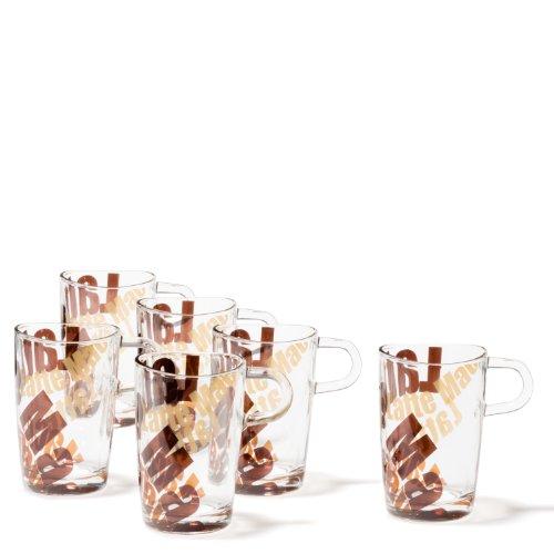 Leonardo Loop Latte-Macchiato Tasse, Glas-Tasse mit Motiv, spülmaschinengeeignete Kaffee-Gläser, 6er Set, 365 ml, 089344