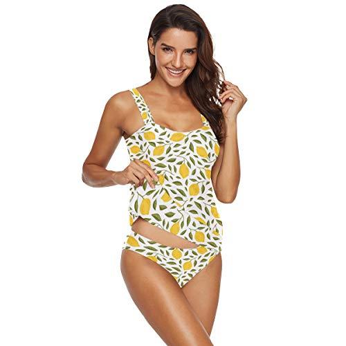 Women's Sexy Tankini Lemon Swimsuit Quick Dry Print Swimwear 2 Pieces Sets Bathing Suits XXL 2030215