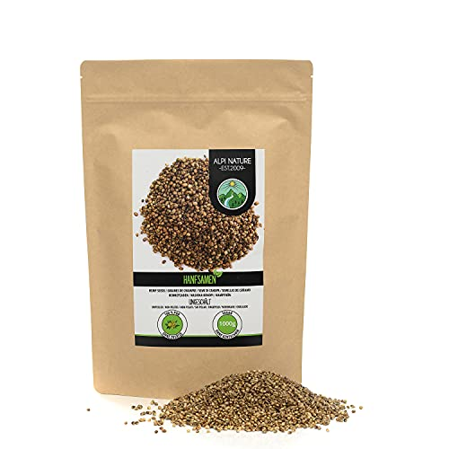 Semillas de cáñamo sin pelar (1kg), semillas de cáñamo 100% naturales sin aditivos, vegano