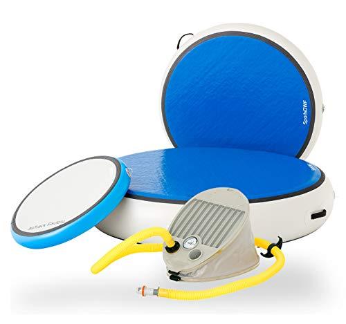 AirTrack Factory - AirSpot aufblasbare runde Sportmatte Balancematte Gymnastikmatte Turnmatte federnt inkl. Fußpumpe (100)
