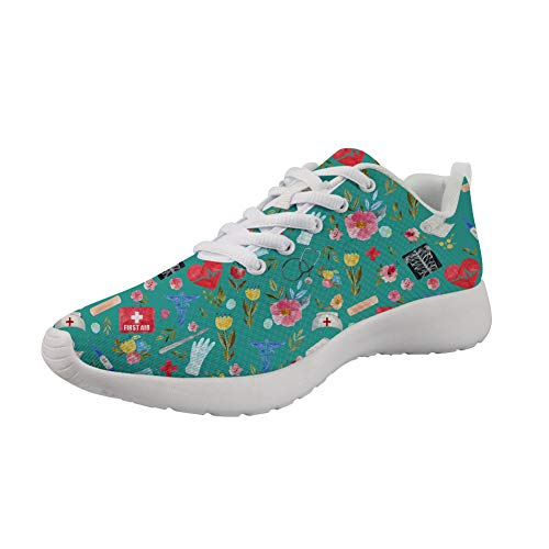 Woisttop Love to Care Medical Green Mujeres Hombres Zapatillas de Deporte de Moda con Cordones Zapatos Deportivos Ligeros para Mujer Zapatos Casuales para Correr para Caminar