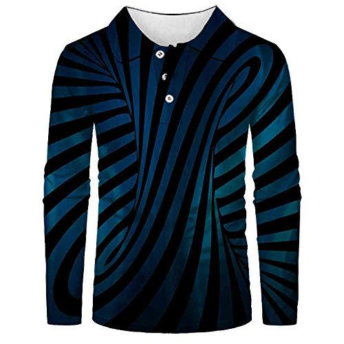 FANGDADAN Langarm-Poloshirt Für Herren,Kreative Muster Herren Mode Polo Shirt Casual 3D Gedruckt Shirt Langarm Shirt Voller Ärmel Warm Casual Atmungsaktive Casual Anzüge Top Bluse 038,5XL