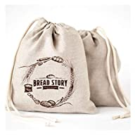 Natural Linen Bread Bags - 2-Pack Large 11 x15 in (30 cm x 40 cm) Ideal for Homemade Bread, Reusable Food Storage…