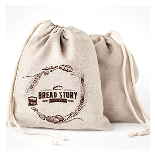 Natural Linen Bread Bags - 2-Pack Large 11 x15 in (30 cm x 40 cm) Ideal for Homemade Bread, Reusable Food Storage, Housewarming, Wedding Gift, Storage for Artisan Bread - Bakery & Baguette Bag