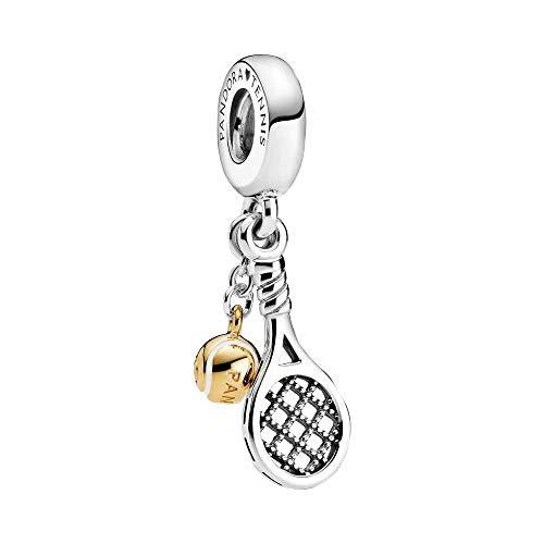 Pandora 769026C01 - Ciondolo a forma di racchetta da tennis e palla in argento Sterling, 15 x 7,2 x 6,2 mm