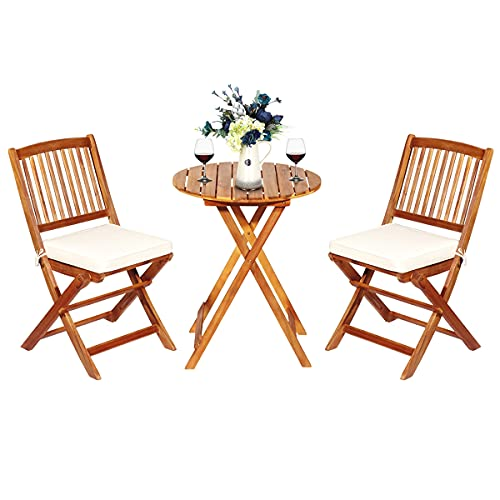 COSTWAY 3-TLG. Klappbares Balkonset Sitzganitur aus Akazienholz und mit Kissen, Gartenmöbel-Set Terrassenset mit rundem Tisch & 2 Stühlen, Garten Sitzgruppe für In &...