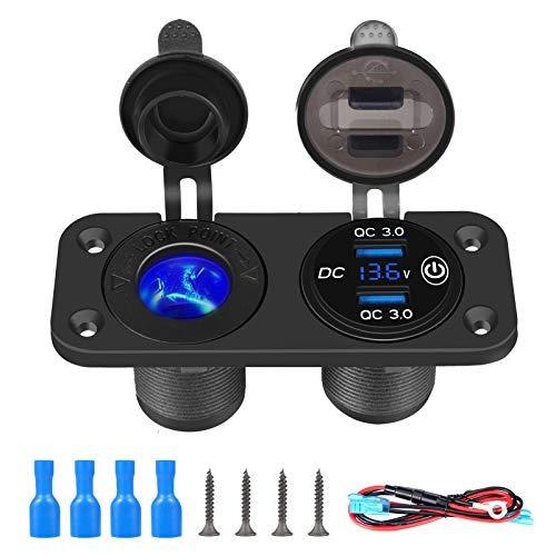 Thlevel QC 3.0 USB Steckdose Auto 12V/24V KFZ Ladegerät Zigarettenanzünder wasserdichte mit Schalter für LKW Wohnwagen Motorrad Boot