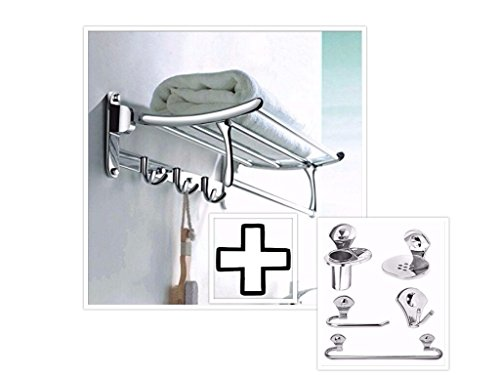 Fortune Stainless Steel 24 Inch Folding Towel Rack for Bathroom   Towel Stand   Hanger with 5 pcs Bathroom Accessories Set (Towel Rod/Napkin Ring/Soap Dish/Tumbler Holder/Robe Hook)