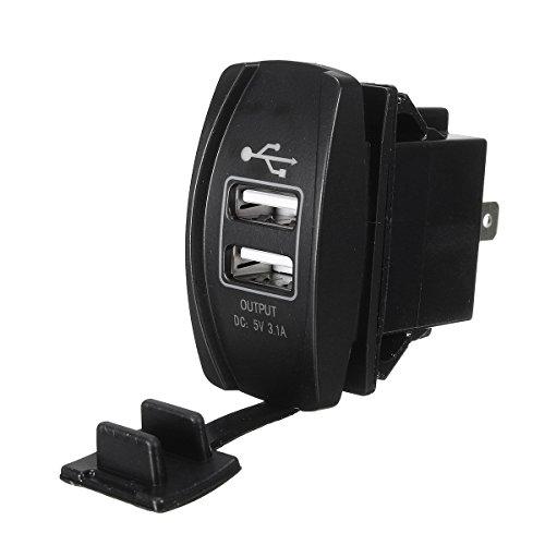 Wooya 12V 24V Rojo Cargador USB Dual Interruptor Basculante Utv Retroiluminado para Motocicleta Coche Camión Barco