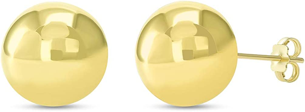 14k Yellow Gold Round Ball Stud Earrings with Friction Back