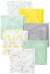 Image: Simple Joys by Carter's Baby 7-Pack Flannel Receiving Blankets | ideal for swaddling, burping, or cuddling