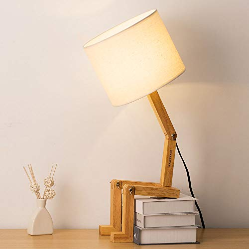 HAITRAL Swing Arm Desk Lamp - Modern Creative Table Lamp Natural Wood Bedside Nightstand Lamp for...