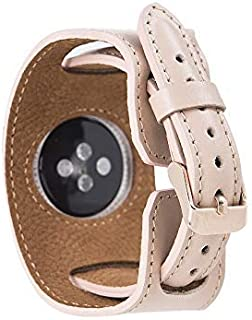 iWatch Band 44mm 42mm 40mm 38mm,Genuine Leather Apple Watch Band, Cuff Bracelet Wrist Watch Band with Adapter Compatible Apple Watch Series 5/4/3/2/1 (Pink, 42-44mm)